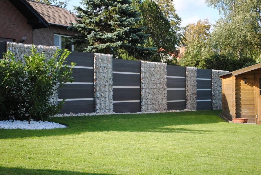 Sichtschutz Garten Holz Metall , Sichtschutz Gabionen Holz Preiswerter Sichtschutz Aus Stein Für